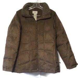 LL Bean Quilted Goose Down Faux Suede Jacket